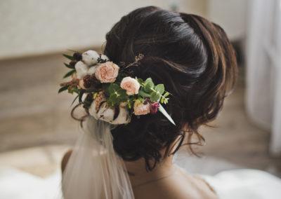 Chignon de mariée avec voile